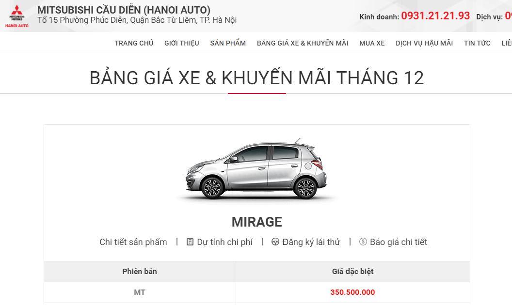 Bảng giá xe Mitsubishi tháng 12-2018